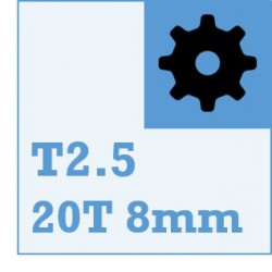 T2.5 Belt and Pulley Packs (20teeth / 8mm Dia)